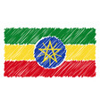 hand drawn national flag of ethiopia isolated on a vector image vector image
