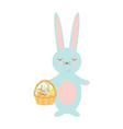 happy easter bunny holding basket with eggs and vector image vector image