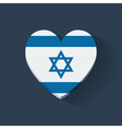 Heart-shaped icon with flag of Israel vector image vector image