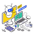 isometric web hosting and support composition vector image