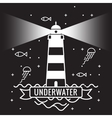 lighthouse on black background underwater vector image