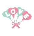 love card hearts balloons hang with bow vector image
