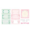 pink and blue business floral card set vector image
