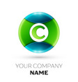 realistic letter c logo symbol in colorful circle vector image vector image