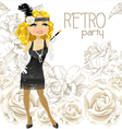 retro glamour girl vector image vector image
