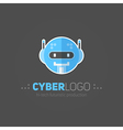Robot head logotype in flat-style vector image vector image