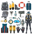 Scuba diving equipment accessories collection vector image vector image
