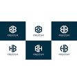 set bh and etc logo vector image