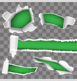 set for white paper torn hole green inside vector image