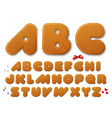 set letters in shape a christmas gingerbread vector image