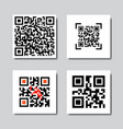 set of sample qr codes for smartphone scanning vector image vector image