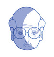 silhouette old man face with glasses and hairstyle vector image vector image