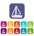 small boat icons set vector image vector image
