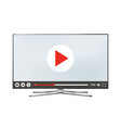 smart tv lcd monitor with video player on screen vector image