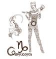 stylized zodiac sign capricorn vector image vector image