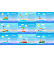 surfing and jet ski swimming and donut ride cards vector image vector image
