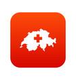 switzerland map icon digital red vector image