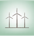 wind turbines sign brown flax icon on vector image