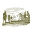 Woodcut Mountain Lake Scene vector image vector image