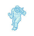 yeti or abominable snowman mono line vector image vector image