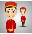 young cute bellboy waiting for the client vector image