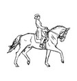 young rider man on horse at dressage competition vector image vector image
