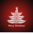 white christmas tree on red background vector image