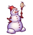 funny snowman with broom vector image