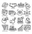 advertising and marketing line icons vector image vector image