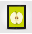 Apple on tablet pc screen vector image