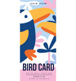 bird card birds and animals colorful poster vector image vector image