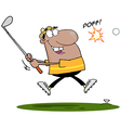 Black Man Swinging A Golf Club vector image vector image