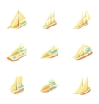 Boats icons set cartoon style vector image vector image