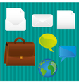 business icons turquoise background lines contains vector image