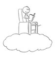 cartoon man and dreamer reading a book on a vector image vector image