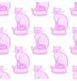 Cat with bowl on white background vector image