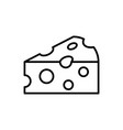 cheese outline icon on white background piece vector image vector image