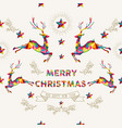 christmas and new year low poly reindeer card vector image
