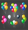 colorful helium balloons set on transparent vector image vector image