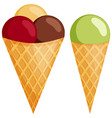 colorful mixed ball ice cream cone set vector image
