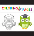 coloring book page wise owl wearing glasses vector image vector image