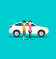 couple - man and woman with white car flat design vector image vector image