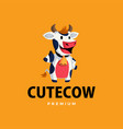 cow thumb up mascot character logo icon vector image vector image