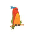 cute bird sitting on perch funny birdie cartoon vector image vector image