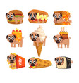 cute funny pug dog character as fast food vector image vector image