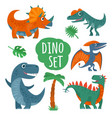 dinosaurs set colorful flat icon isolated vector image