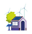 eco friendly house solar panel windmill energy vector image