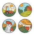 farm harvest field agriculture badge sticker vector image