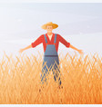 farmer and crop harvest flat composition vector image vector image
