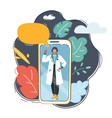 female doctor using her mobile phone vector image vector image